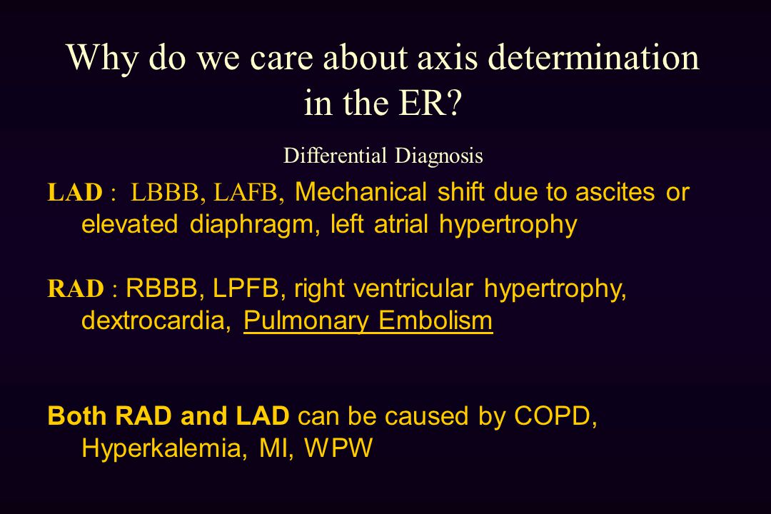 Why do we care about axis determination in the ER.