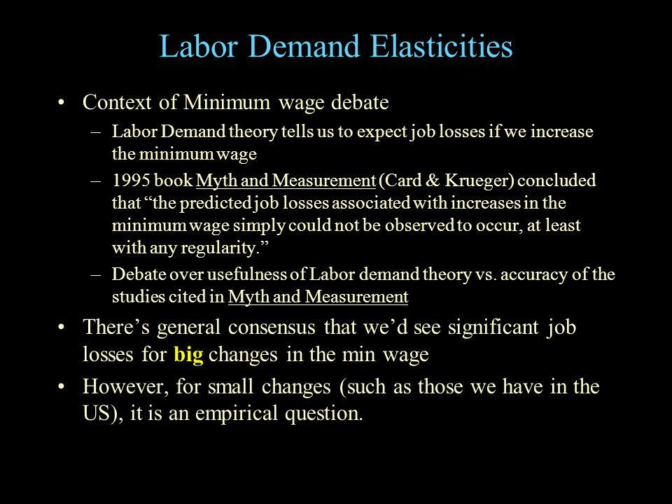 Firms' Demand for Inputs Initially at point E Labor Capital (K) TC 1 /r TC 1 /r' TC 2 /r' TC 1 /wTC 2 /w Q1Q1 E E $ per unit QQ1Q1 MC AC MC AC Profit maximization yields: MRP L = w MRP K = r With 2 inputs,  L/  w = [  L/  w]  Q +  L/  w (from  Q) [  L/  w]  Q < 0  L/  w (from  Q) = (  L/  q) (  Q/  P) (  P/  MC) (  MC/  w) (+/-) (-) (1) (+/-) Thus,  L/  w (from  Q) < 0 expansion path' expansion path Q2<Q2< E  P Q2Q2