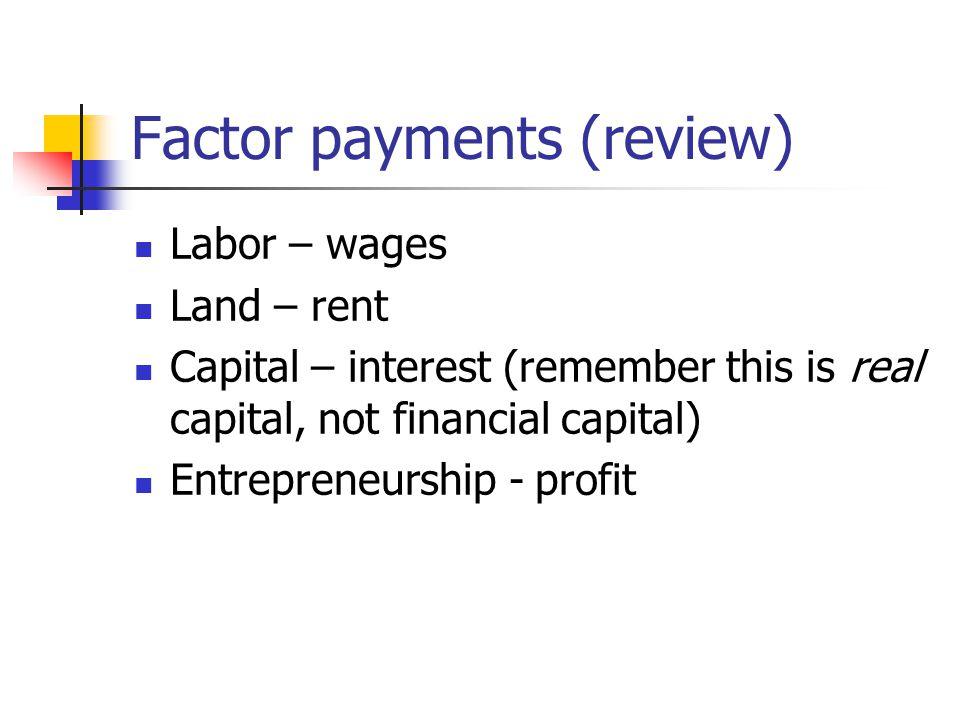 Factor payments (review) Labor – wages Land – rent Capital – interest (remember this is real capital, not financial capital) Entrepreneurship - profit