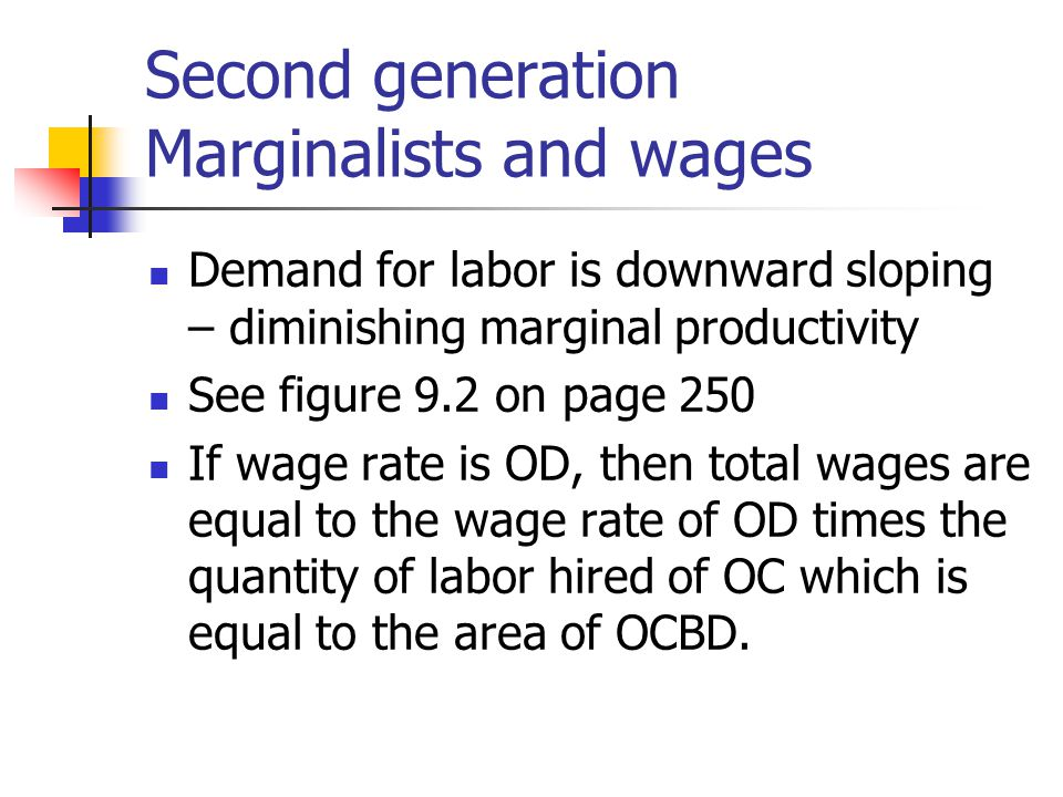 Second generation Marginalists and wages Demand for labor is downward sloping – diminishing marginal productivity See figure 9.2 on page 250 If wage r