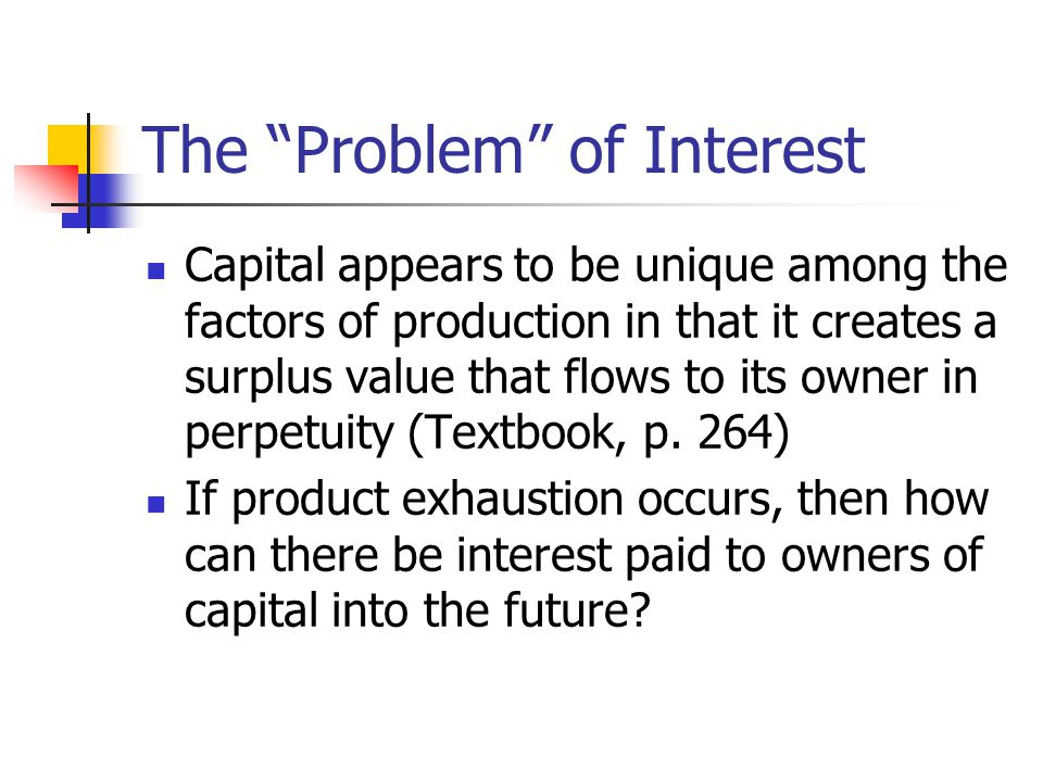 "The ""Problem"" of Interest Capital appears to be unique among the factors of production in that it creates a surplus value that flows to its owner in p"