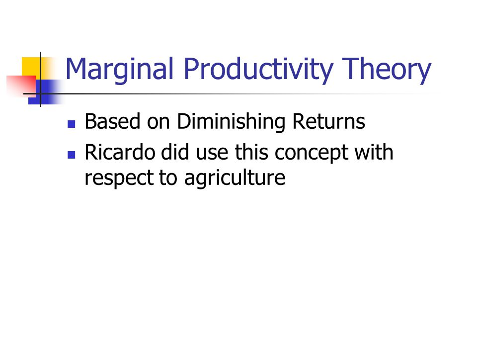 Marginal Productivity Theory Based on Diminishing Returns Ricardo did use this concept with respect to agriculture