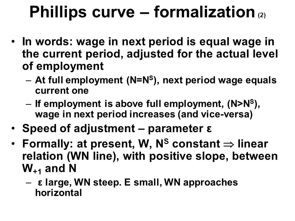 Phillips curve – formalization (2) In words: wage in next period is equal wage in the current period, adjusted for the actual level of employment –At full employment (N=N S ), next period wage equals current one –If employment is above full employment, (N>N S ), wage in next period increases (and vice-versa) Speed of adjustment – parameter ε Formally: at present, W, N S constant  linear relation (WN line), with positive slope, between W +1 and N – ε large, WN steep.