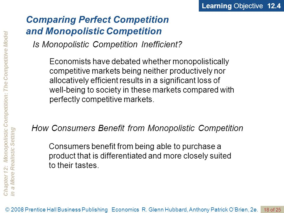 Chapter 12: Monopolistic Competition: The Competitive Modelin a More Realistic Setting © 2008 Prentice Hall Business Publishing Economics R. Glenn Hub