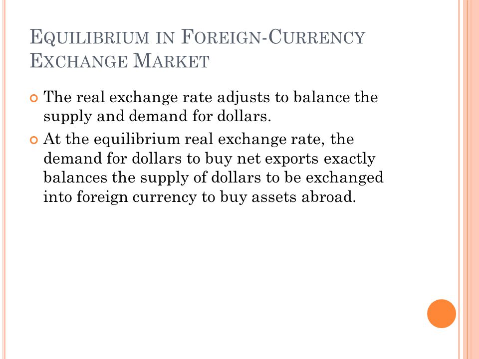 E QUILIBRIUM IN F OREIGN -C URRENCY E XCHANGE M ARKET The real exchange rate adjusts to balance the supply and demand for dollars. At the equilibrium
