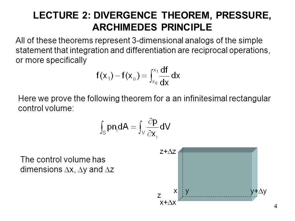 4 LECTURE 2: DIVERGENCE THEOREM, PRESSURE, ARCHIMEDES PRINCIPLE All of these theorems represent 3-dimensional analogs of the simple statement that integration and differentiation are reciprocal operations, or more specifically Here we prove the following theorem for a an infinitesimal rectangular control volume: The control volume has dimensions  x,  y and  z x x+  x y+  y y z+  z z