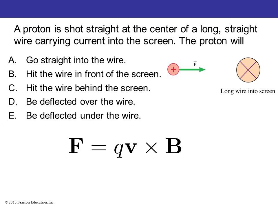 © 2013 Pearson Education, Inc. A proton is shot straight at the center of a long, straight wire carrying current into the screen. The proton will A.Go
