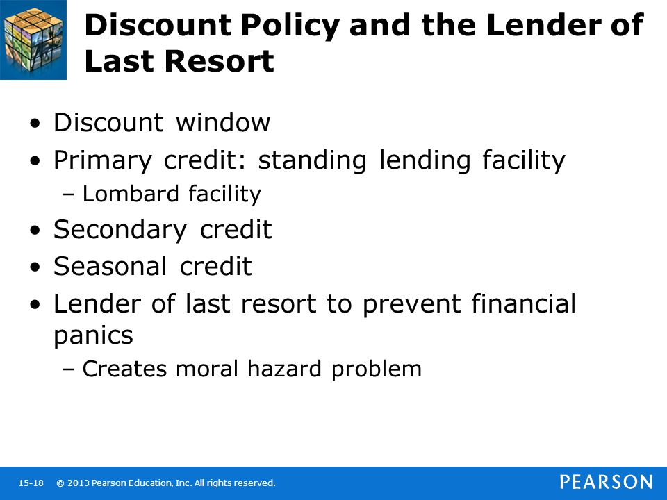 © 2013 Pearson Education, Inc. All rights reserved.15-18 Discount Policy and the Lender of Last Resort Discount window Primary credit: standing lendin