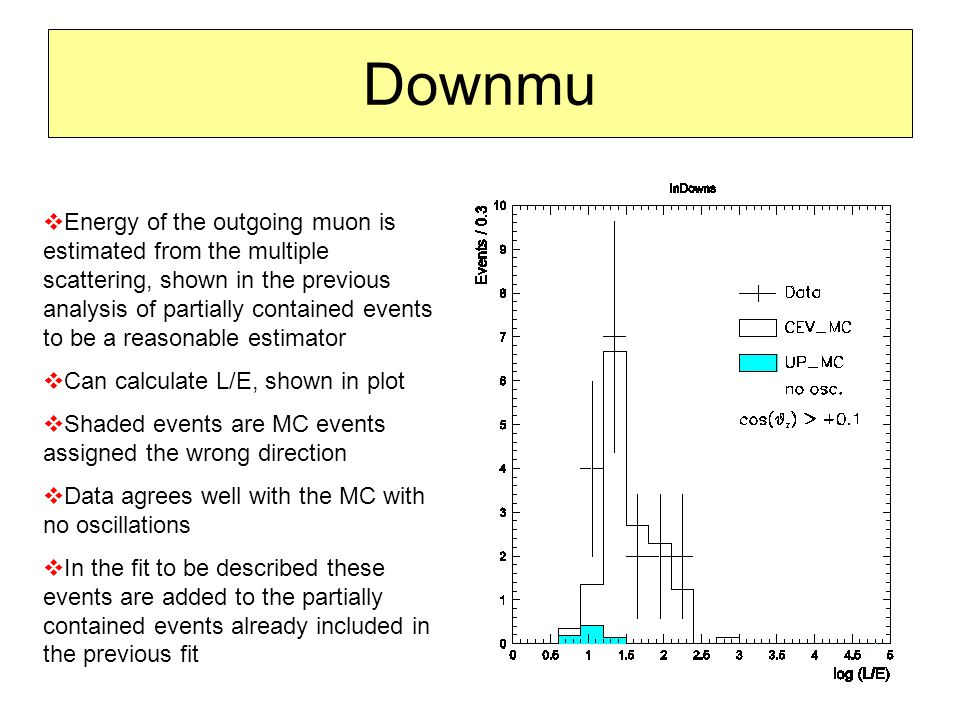 Downmu  Energy of the outgoing muon is estimated from the multiple scattering, shown in the previous analysis of partially contained events to be a reasonable estimator  Can calculate L/E, shown in plot  Shaded events are MC events assigned the wrong direction  Data agrees well with the MC with no oscillations  In the fit to be described these events are added to the partially contained events already included in the previous fit