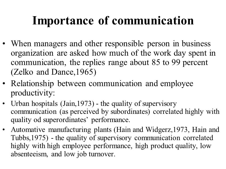 Importance of communication When managers and other responsible person in business organization are asked how much of the work day spent in communicat