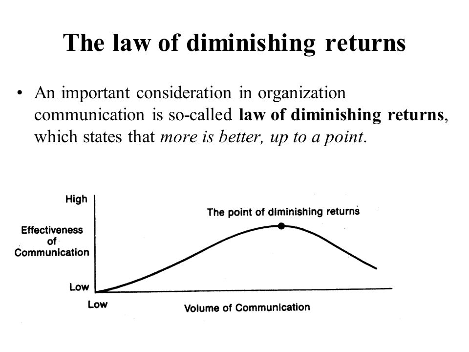 The law of diminishing returns An important consideration in organization communication is so-called law of diminishing returns, which states that mor
