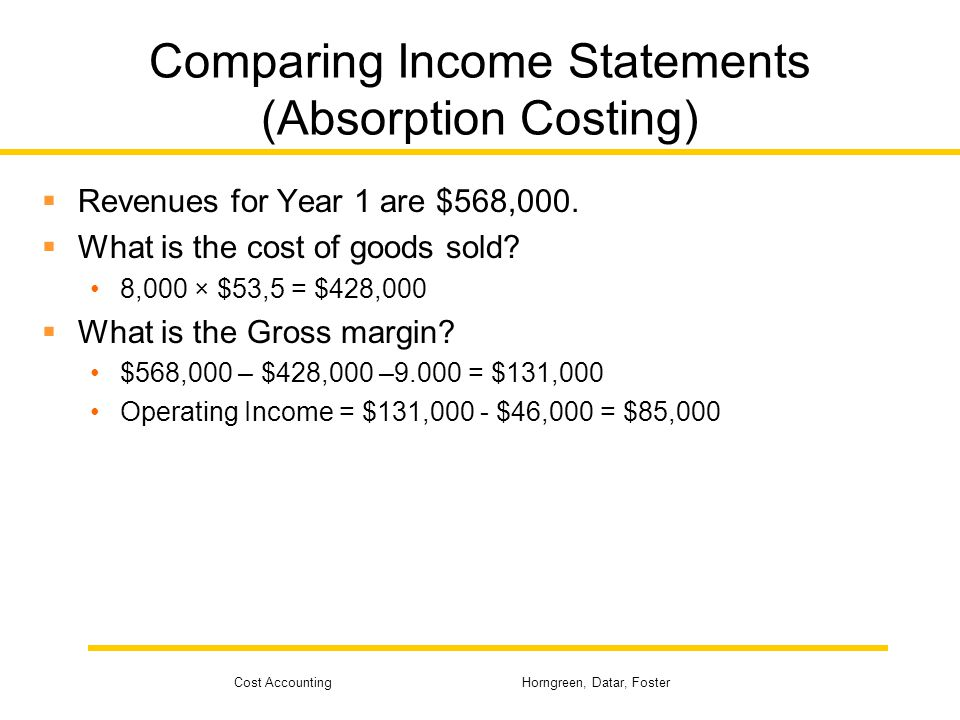 Cost Accounting Horngreen, Datar, Foster Comparing Income Statements (Absorption Costing)  Total fixed production costs are $54,000 at a normal capacity of 12,000 units.