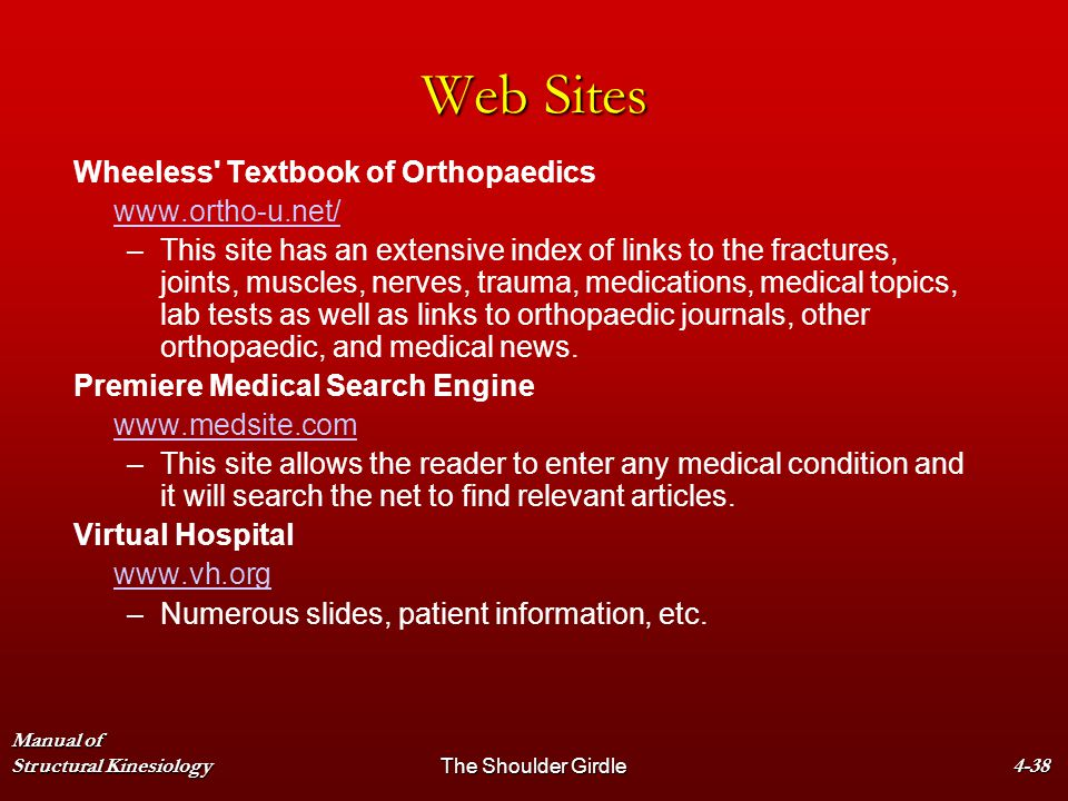 Manual of Structural KinesiologyThe Shoulder Girdle4-38 Web Sites Wheeless' Textbook of Orthopaedics www.ortho-u.net/ – –This site has an extensive in