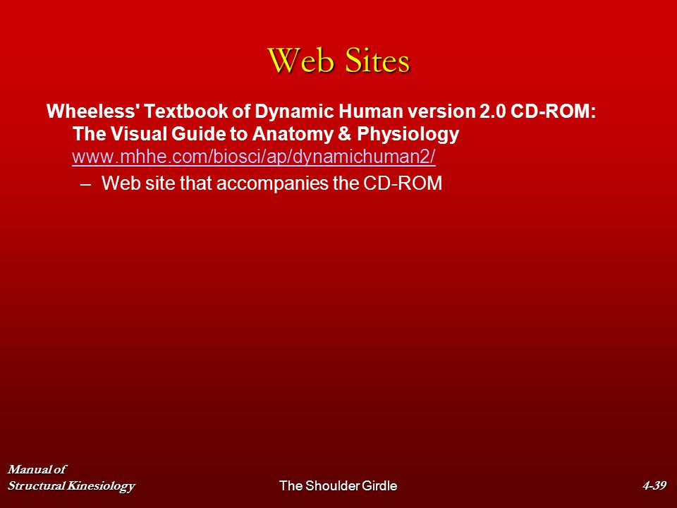 Manual of Structural KinesiologyThe Shoulder Girdle4-39 Web Sites Wheeless' Textbook of Dynamic Human version 2.0 CD-ROM: The Visual Guide to Anatomy