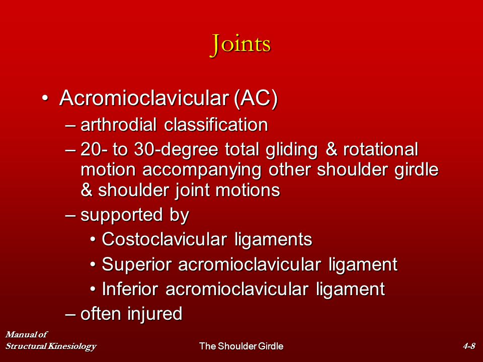 Manual of Structural KinesiologyThe Shoulder Girdle4-8 Joints Acromioclavicular (AC)Acromioclavicular (AC) –arthrodial classification –20- to 30-degre