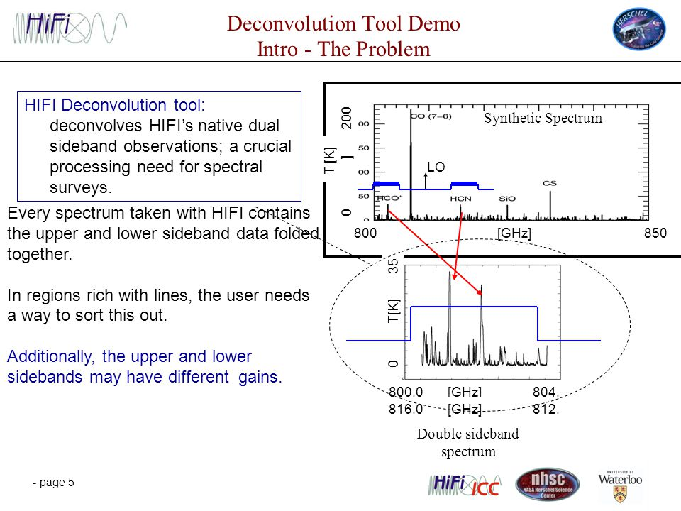 - page 5 Deconvolution Tool Demo Intro - The Problem HIFI Deconvolution tool: deconvolves HIFI's native dual sideband observations; a crucial processing need for spectral surveys.