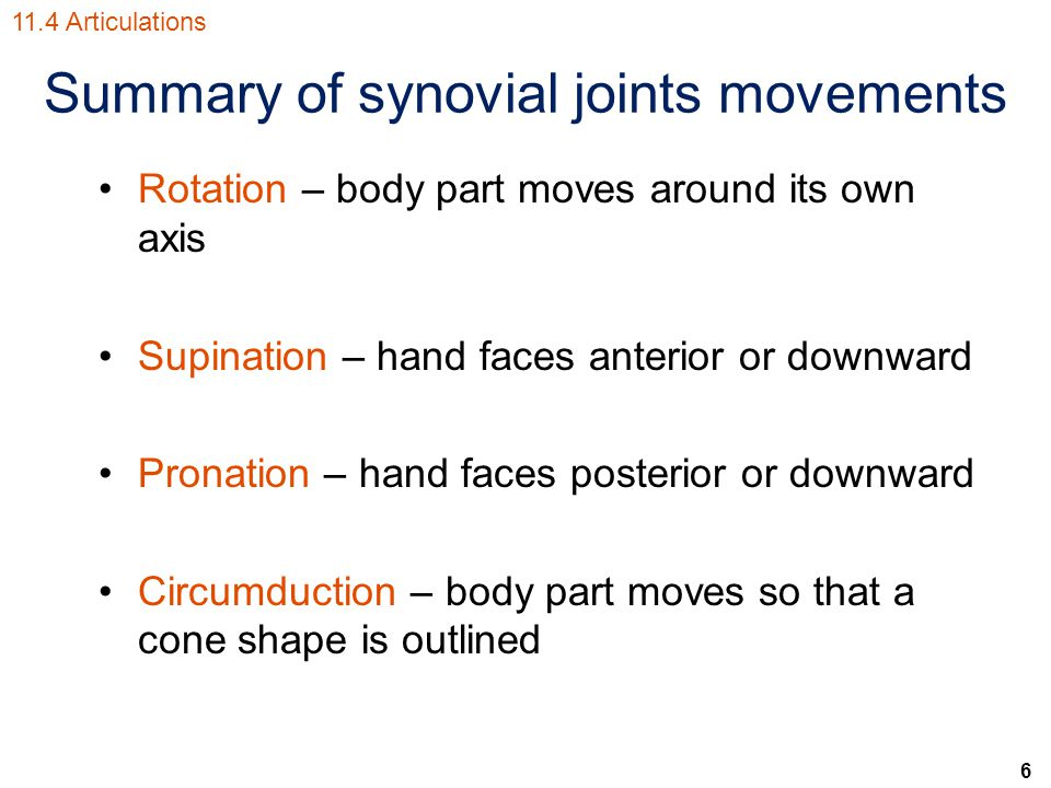 6 Summary of synovial joints movements Rotation – body part moves around its own axis Supination – hand faces anterior or downward Pronation – hand faces posterior or downward Circumduction – body part moves so that a cone shape is outlined 11.4 Articulations