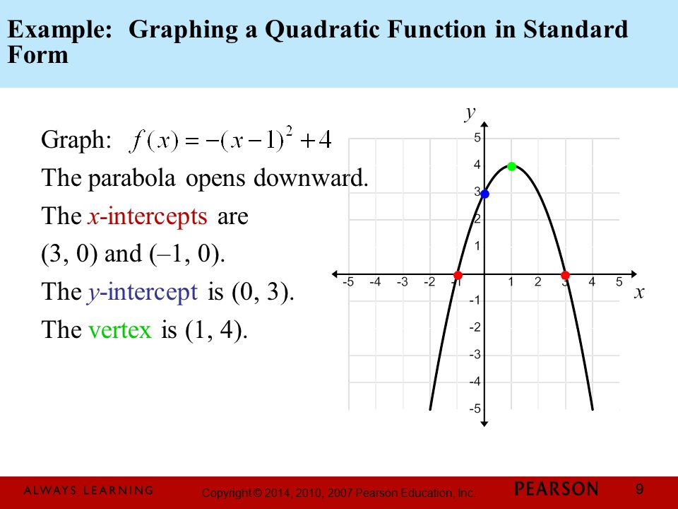 Copyright © 2014, 2010, 2007 Pearson Education, Inc. 9 Example: Graphing a Quadratic Function in Standard Form Graph: The parabola opens downward. The