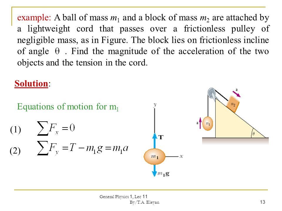 General Physics 1, Lec 11 By/T.A. Eleyan 13 example: A ball of mass m 1 and a block of mass m 2 are attached by a lightweight cord that passes over a