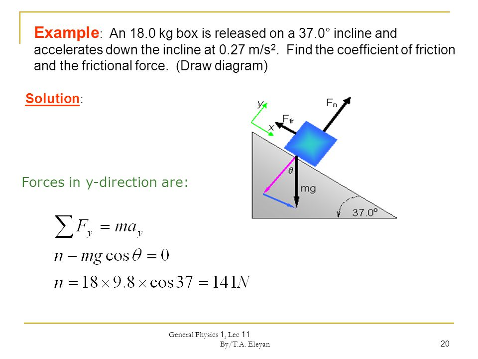General Physics 1, Lec 11 By/T.A. Eleyan 20 Example : An 18.0 kg box is released on a 37.0° incline and accelerates down the incline at 0.27 m/s 2. Fi