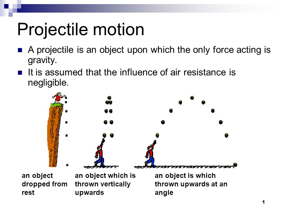 1 Projectile motion an object dropped from rest an object which is thrown vertically upwards an object is which thrown upwards at an angle A projectile is an object upon which the only force acting is gravity.
