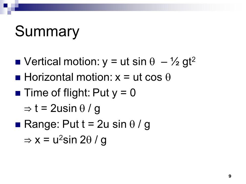 9 Summary Vertical motion: y = ut sin  – ½ gt 2 Horizontal motion: x = ut cos  Time of flight: Put y = 0 ⇒ t = 2usin  / g Range: Put t = 2u sin  / g ⇒ x = u 2 sin 2  / g