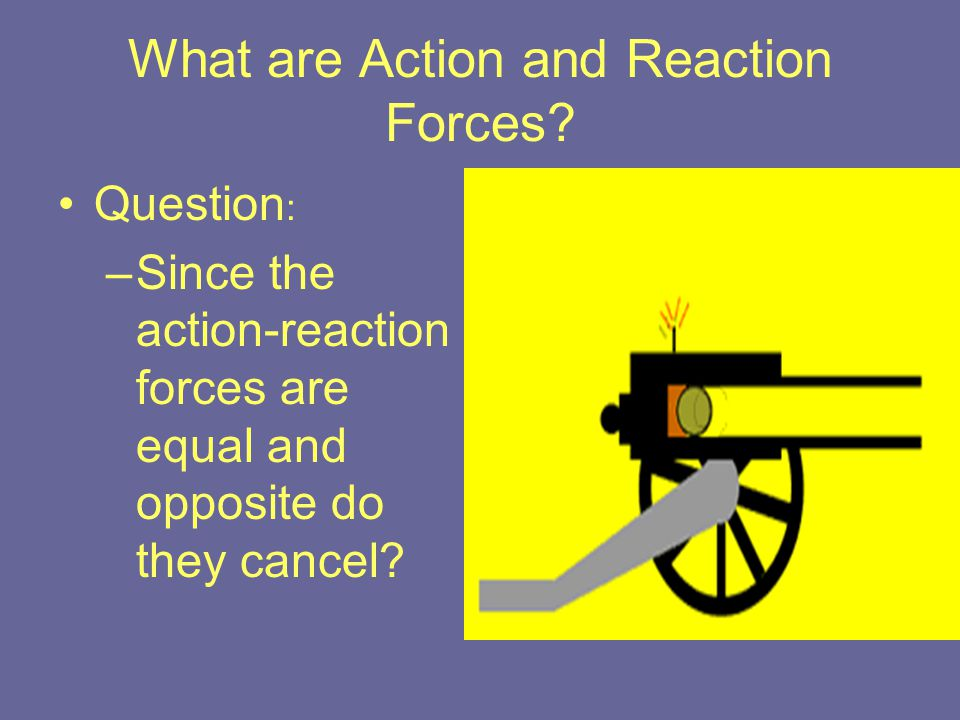 What are Action and Reaction Forces? Question : –Since the action-reaction forces are equal and opposite do they cancel?