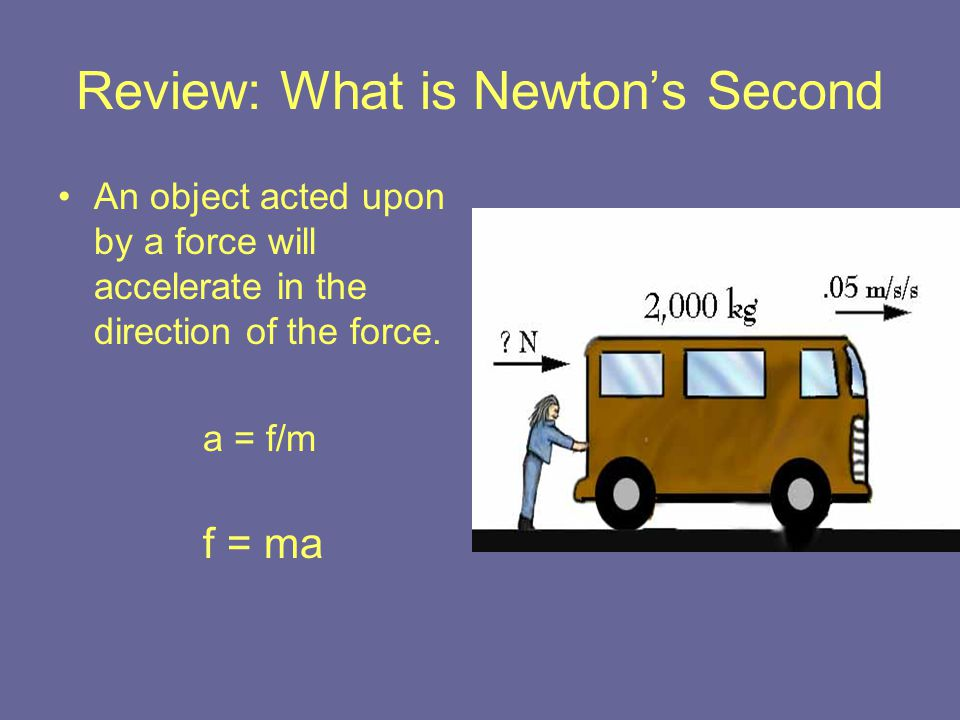 Review: What is Newton's Second An object acted upon by a force will accelerate in the direction of the force. a = f/m f = ma