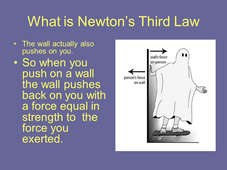 What is Newton's Third Law The wall actually also pushes on you. So when you push on a wall the wall pushes back on you with a force equal in strength
