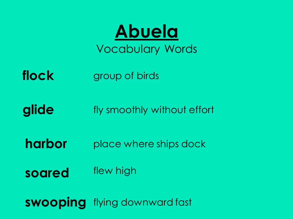 Abuela Vocabulary Words flock group of birds glide harbor soared swooping fly smoothly without effort place where ships dock flew high flying downward fast