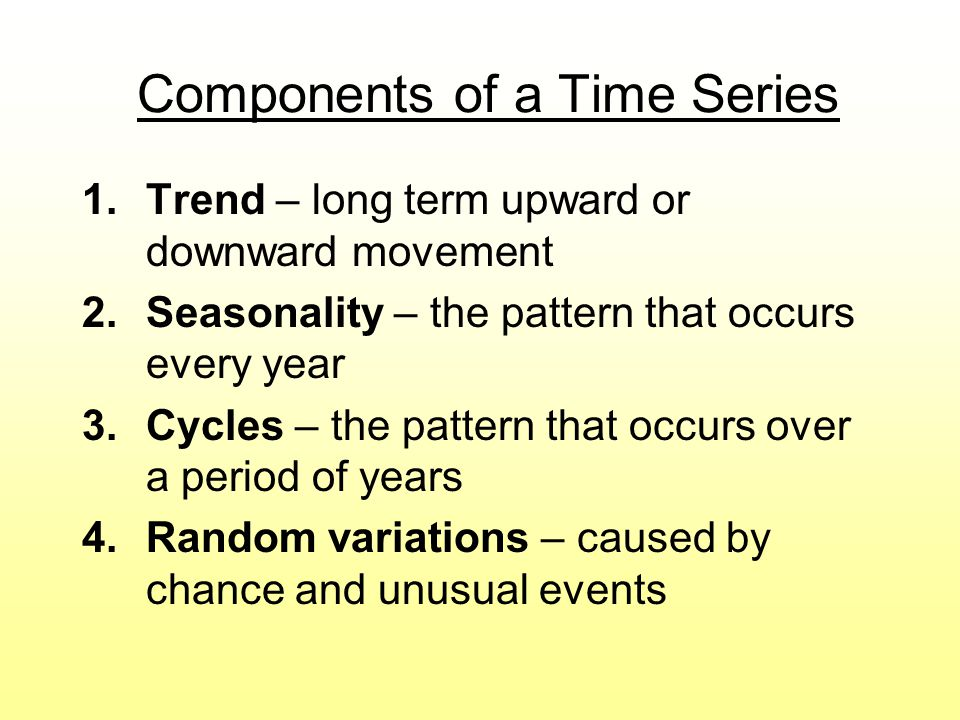 Components of a Time Series 1.Trend – long term upward or downward movement 2.Seasonality – the pattern that occurs every year 3.Cycles – the pattern