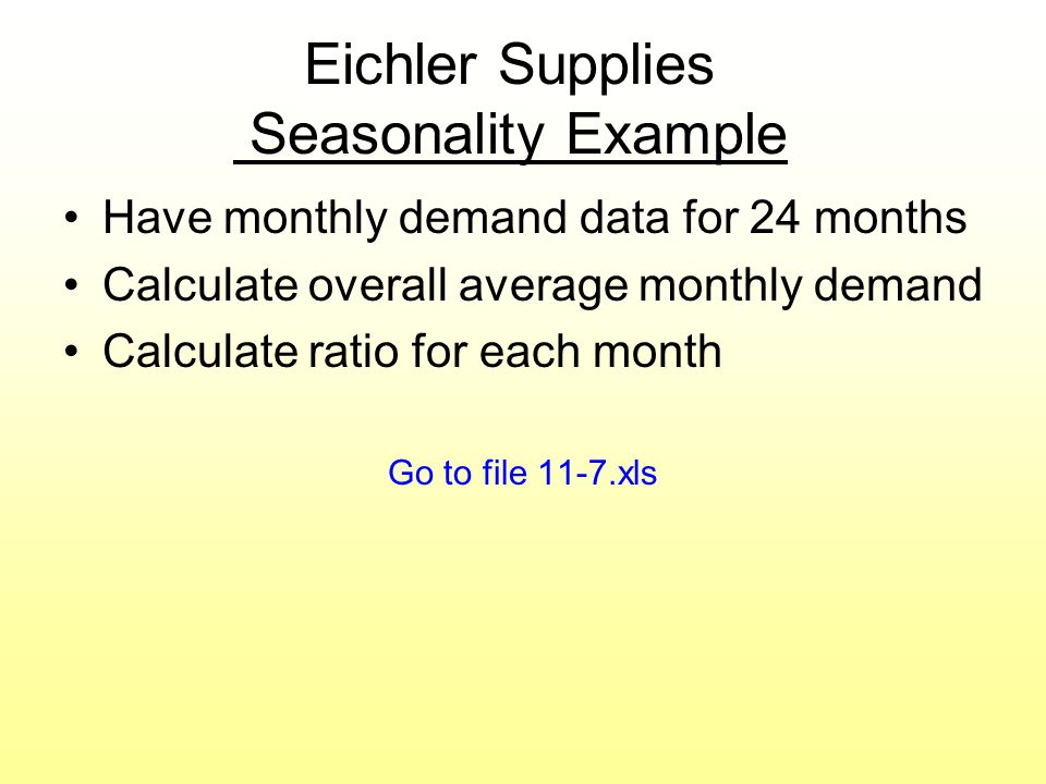 Eichler Supplies Seasonality Example Have monthly demand data for 24 months Calculate overall average monthly demand Calculate ratio for each month Go