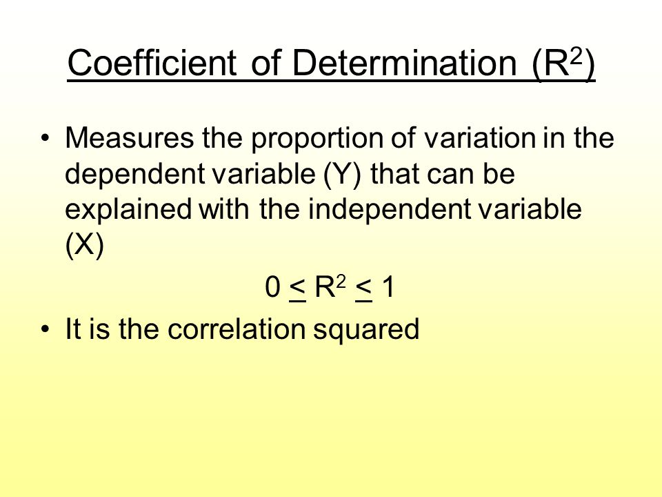 Coefficient of Determination (R 2 ) Measures the proportion of variation in the dependent variable (Y) that can be explained with the independent vari