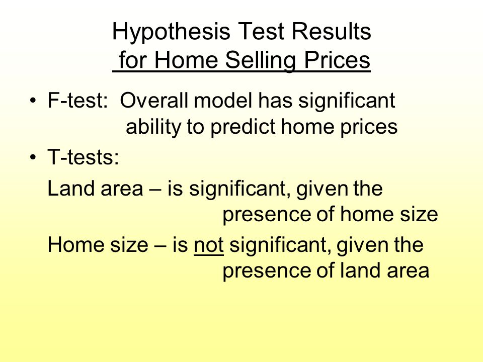 Hypothesis Test Results for Home Selling Prices F-test: Overall model has significant ability to predict home prices T-tests: Land area – is significa