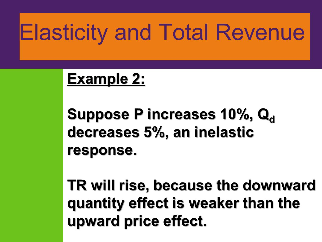 Elasticity and Total Revenue Example 2: Suppose P increases 10%, Q d decreases 5%, an inelastic response. TR will rise, because the downward quantity