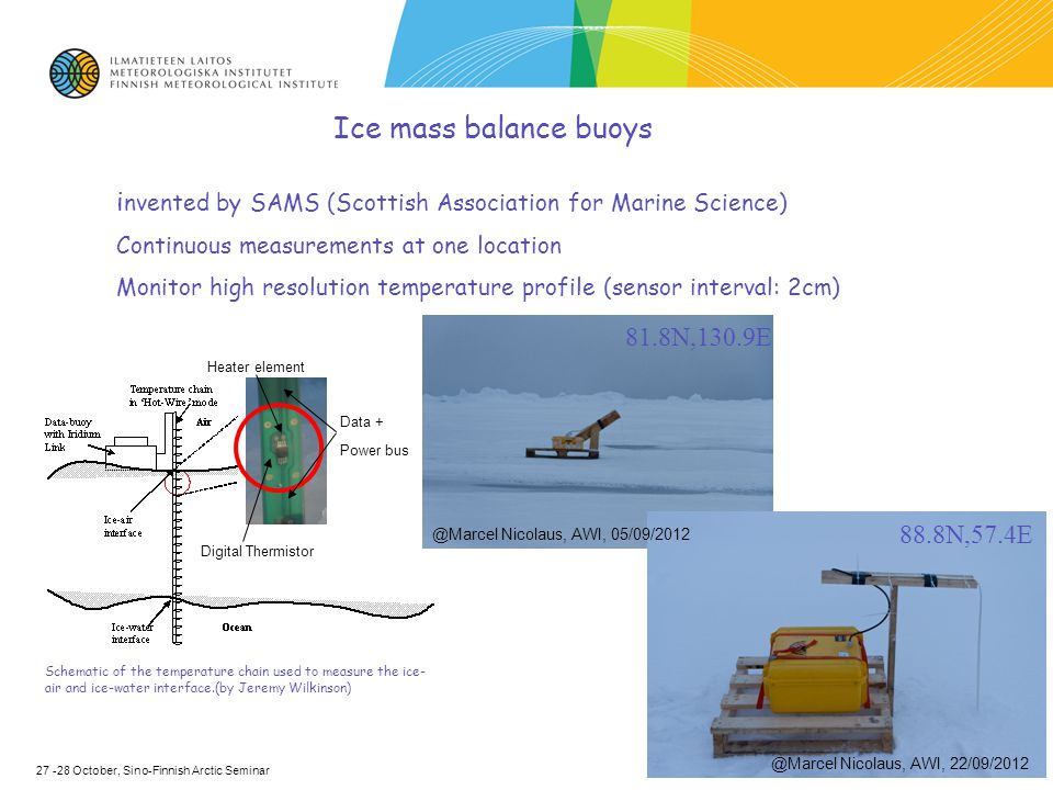 Ice mass balance buoys i nvented by SAMS (Scottish Association for Marine Science) Continuous measurements at one location Monitor high resolution temperature profile (sensor interval: 2cm) Schematic of the temperature chain used to measure the ice- air and ice-water interface.(by Jeremy Wilkinson) Digital Thermistor Heater element Data + Power bus 27 -28 October, Sino-Finnish Arctic Seminar @Marcel Nicolaus, AWI, 05/09/2012 @Marcel Nicolaus, AWI, 22/09/2012 88.8N,57.4E 81.8N,130.9E
