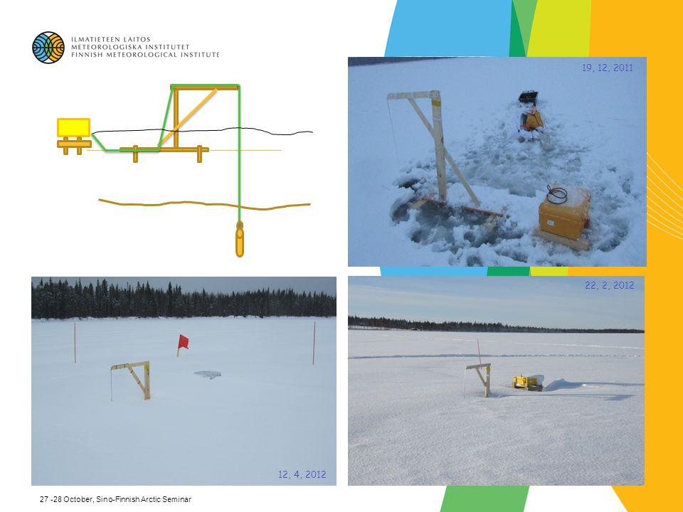 19, 12, 2011 22, 2, 2012 12, 4, 2012 27 -28 October, Sino-Finnish Arctic Seminar