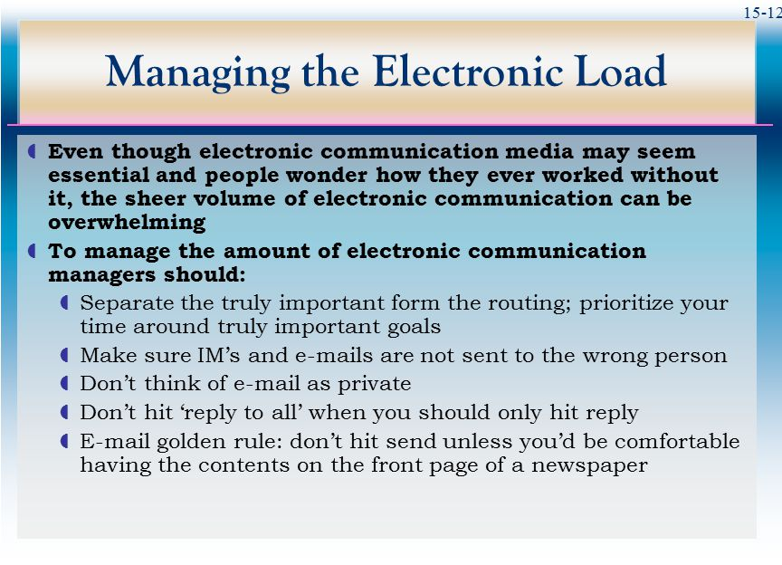 15-12 Managing the Electronic Load  Even though electronic communication media may seem essential and people wonder how they ever worked without it,