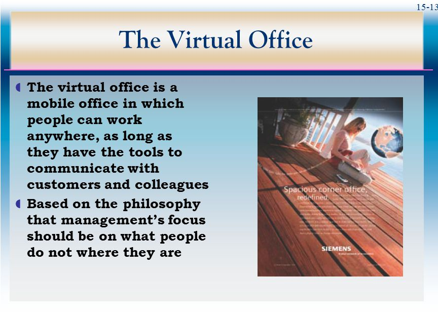 15-13 The Virtual Office  The virtual office is a mobile office in which people can work anywhere, as long as they have the tools to communicate with