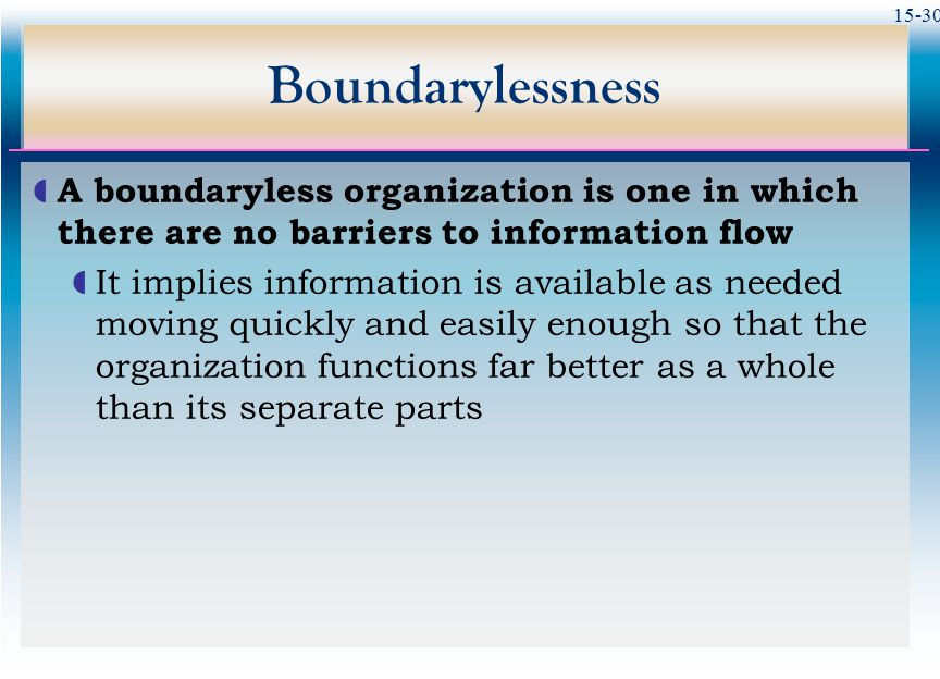 15-30 Boundarylessness  A boundaryless organization is one in which there are no barriers to information flow  It implies information is available as needed moving quickly and easily enough so that the organization functions far better as a whole than its separate parts