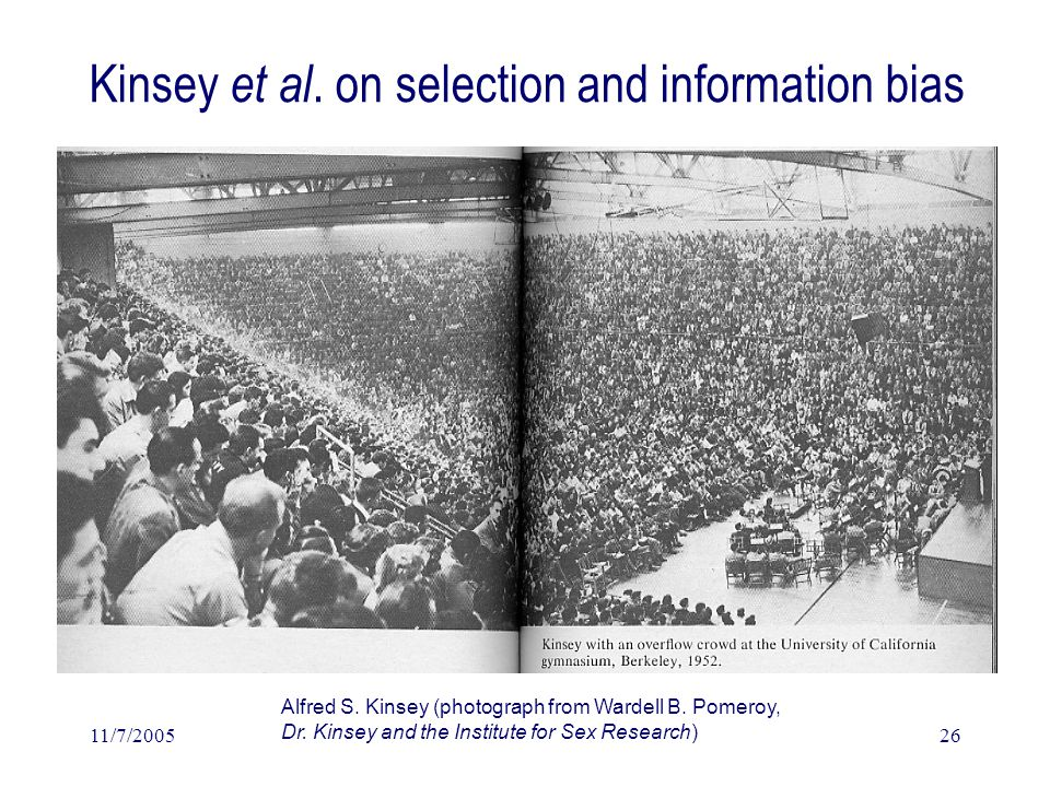 11/7/200526 Kinsey et al. on selection and information bias (Alfred C.