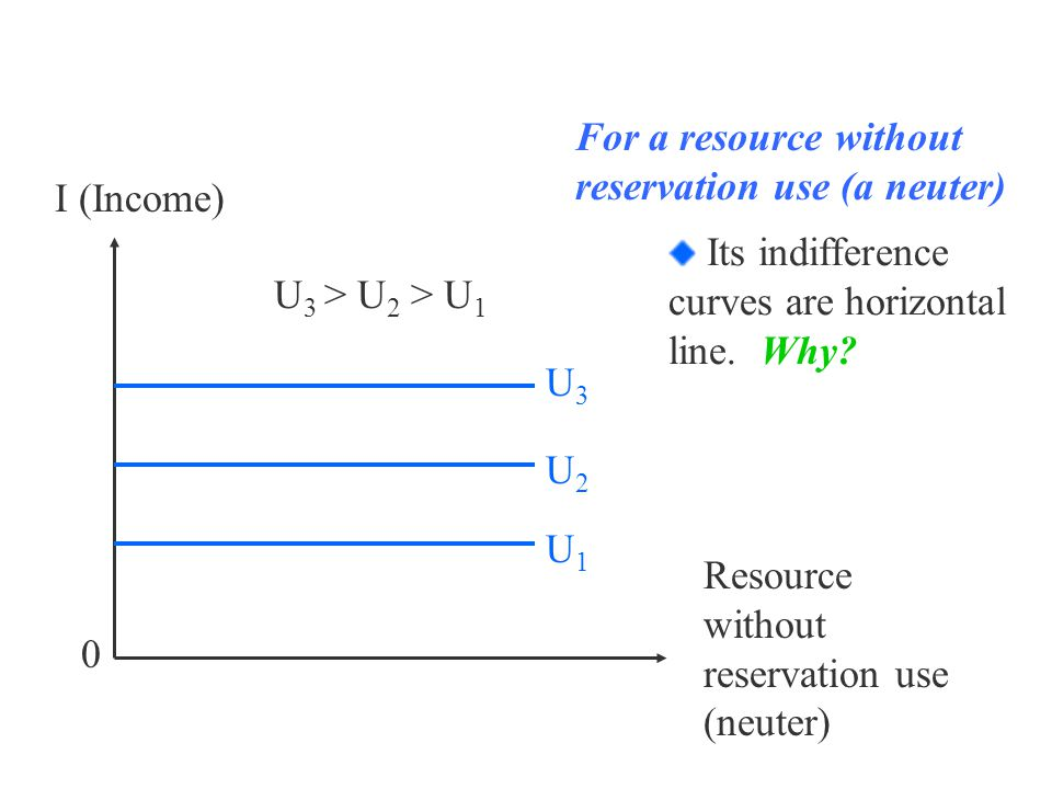 I (Income) 0 U 3 > U 2 > U 1 U1U1 U3U3 U2U2 Resource without reservation use (neuter) For a resource without reservation use (a neuter) Its indifference curves are horizontal line.
