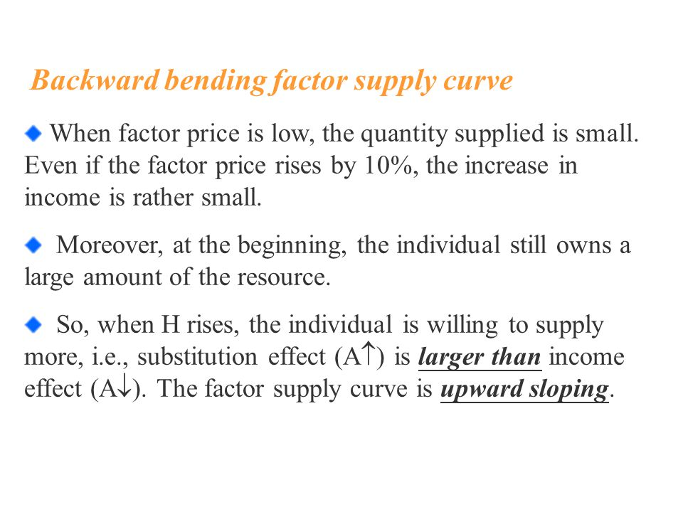 Backward bending factor supply curve When factor price is low, the quantity supplied is small.