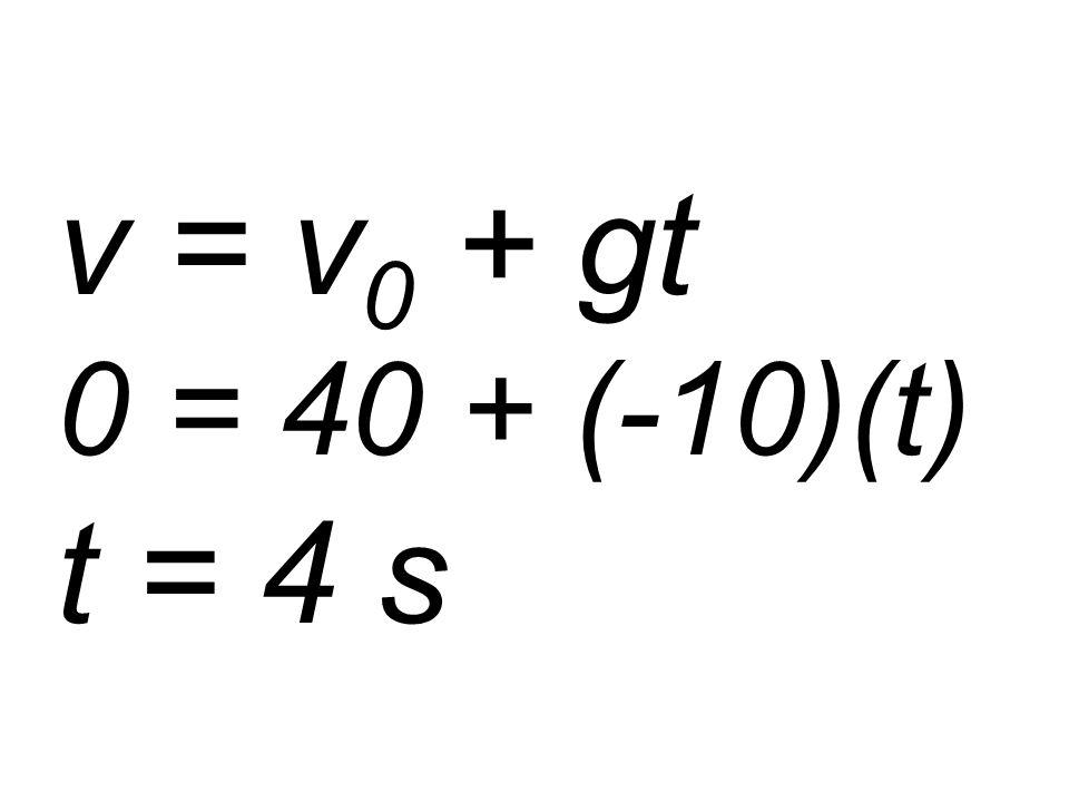 v = v 0 + gt 0 = 40 + (-10)(t) t = 4 s