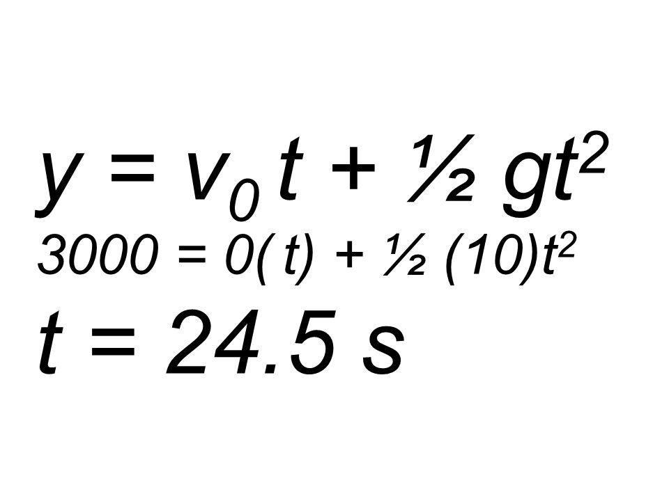 y = v 0 t + ½ gt 2 3000 = 0( t) + ½ (10)t 2 t = 24.5 s