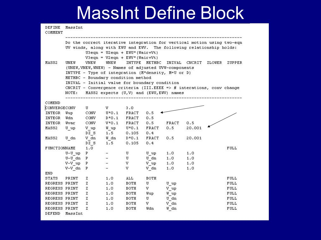 MassInt Define Block