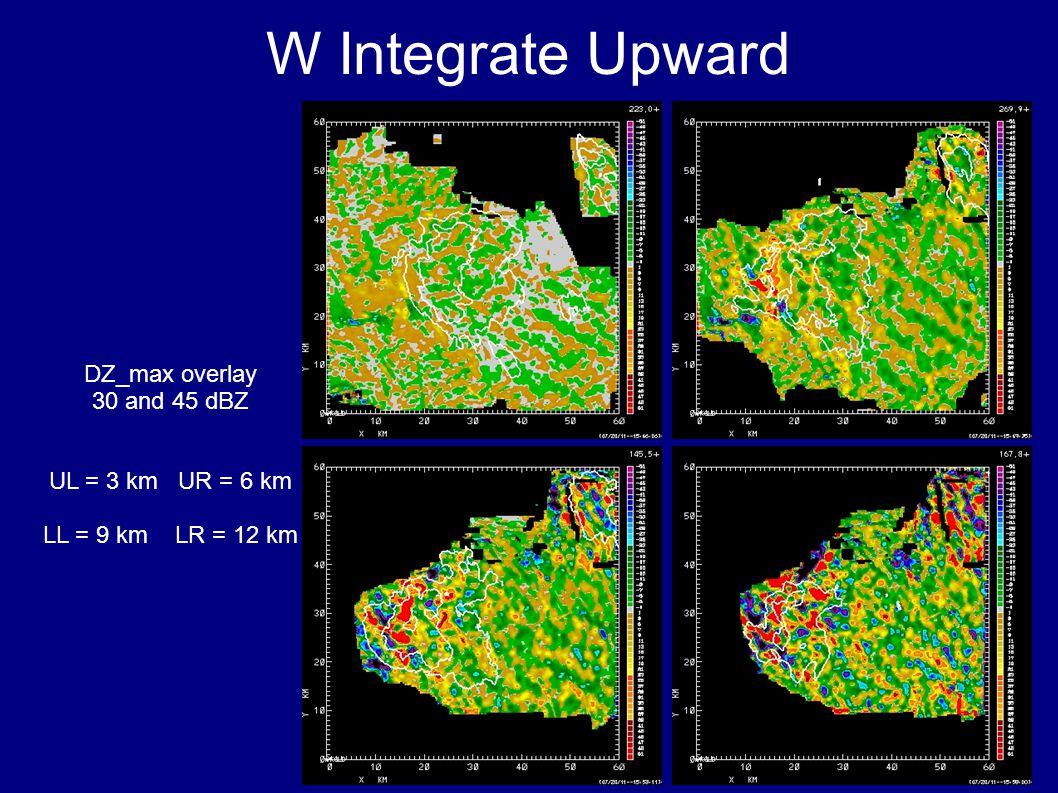 W Integrate Upward DZ_max overlay 30 and 45 dBZ UL = 3 km UR = 6 km LL = 9 km LR = 12 km