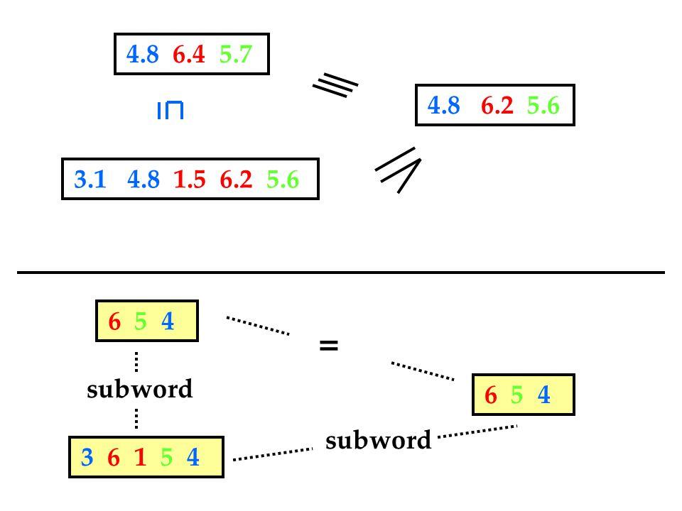 6 5 4 3 6 1 5 4 subword 3.1 4.8 1.5 6.2 5.6 4.8 6.4 5.7 4.8 6.2 5.6 6 5 4 =