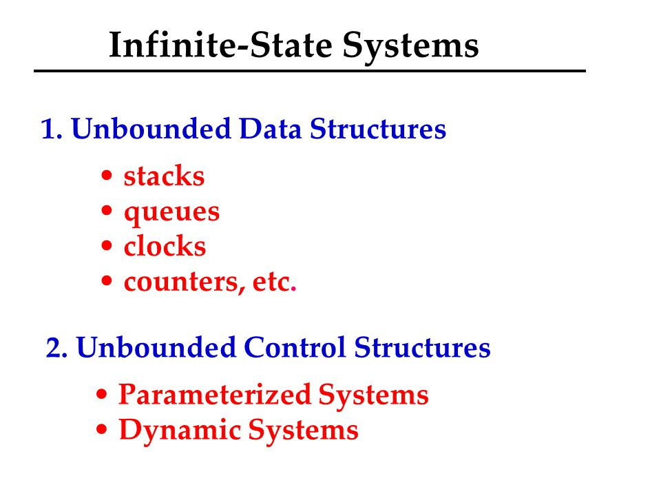 Infinite-State Systems 1. Unbounded Data Structures stacks queues clocks counters, etc.