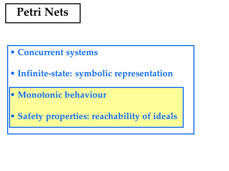 Petri Nets Concurrent systems Infinite-state: symbolic representation Monotonic behaviour Safety properties: reachability of ideals